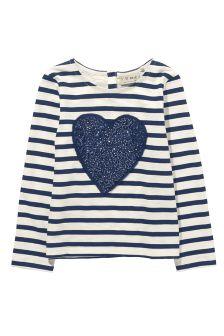 Navy Sequin Heart T-Shirt (3mths-6yrs)