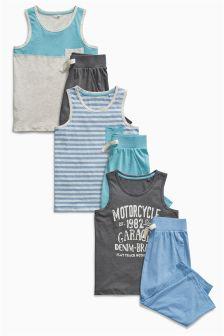 Multi Block Vest Pyjamas Three Pack (3-16yrs)
