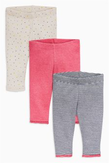Navy Stripe, Pink And Spot Leggings Three Pack (0mths-2yrs)