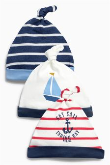 Navy Nautical Tie Top Hats Three Pack (0-12mths)