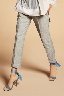Linen Mix Cotton Paper Bag Taper Trousers
