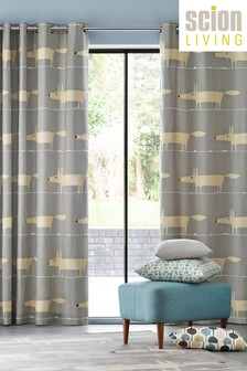 Scion Mr Fox Silver Eyelet Curtains