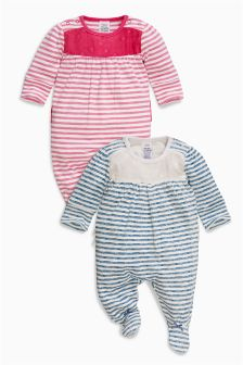 Navy Stripe Sleepsuits Two Pack (0mths-2yrs)