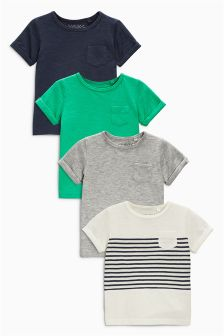 Stripe/Grey/Green/Navy Short Sleeve T-Shirts Four Pack (3mths-6yrs)