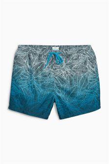 Blue Dip Dye Floral Print Swim Shorts