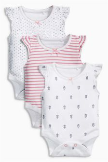Frill Sleeve Bodysuits Three Pack (0mths-2yrs)