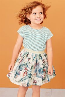 Stripe Palm Print Dress (3mths-6yrs)