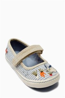 Natural Bunny Stripe Pumps (Younger Girls)