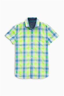 White/Green Check Short Sleeve Shirt (3-16yrs)