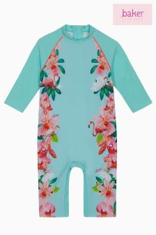 baker by Ted Baker Toddler Girls Mint Floral Sunsafe Swimsuit