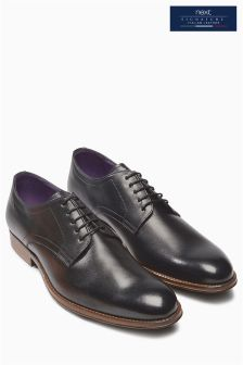 Italia Black Plain Lace-Up