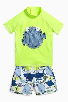 Puffer Fish Two Piece Woven Short Set (3mths-6yrs)