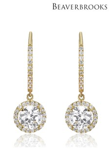 Beaverbrooks 9ct Gold Cubic Zirconia Drop Earrings