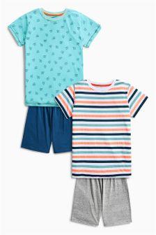 Cactus Stripe Short Pyjamas Two Pack (3-16yrs)
