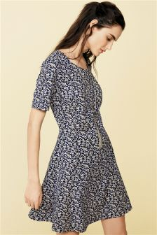 Navy Ditsy Textured Dress