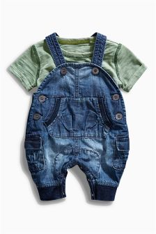 Denim Dungarees Set (0mths-2yrs)
