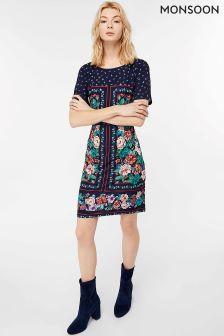 Monsoon Blue Verity Print Tunic Dress