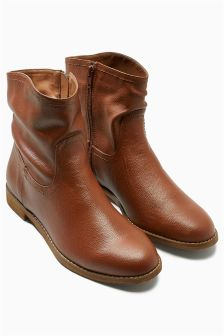 Tan Leather Slouch Ankle Boots
