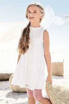 White Lace Mix Dress And Leggings Set (3-16yrs)