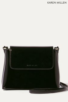 Karen Millen Black Metallic Patent Collection Purse