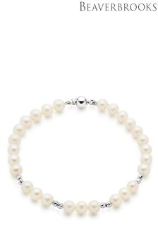 Beaverbrooks 9ct White Gold Fresh Water Pearl Bracelet