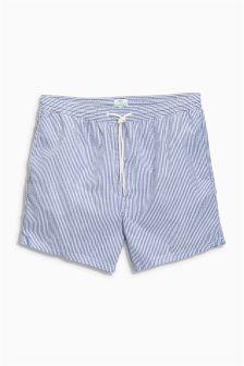 Blue Seersucker Stripe Swim Shorts