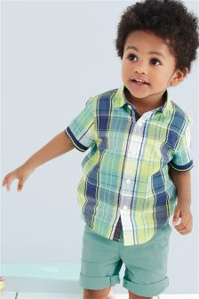 Green Short Sleeve Check Shirt (3mths-6yrs)