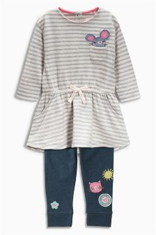 Grey Stripe Mouse Tunic And Leggings Set (3mths-6yrs)