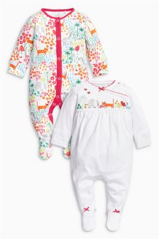 Bright Animals Sleepsuits Two Pack (0mths-2yrs)
