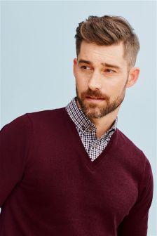 Burgundy V-Neck Mock Shirt