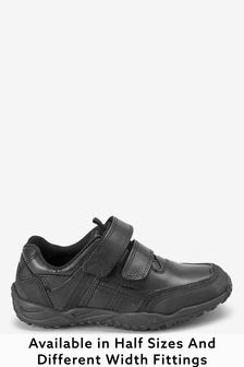 Black Narrow Fit Sporty Double Strap Shoes (Older Boys)