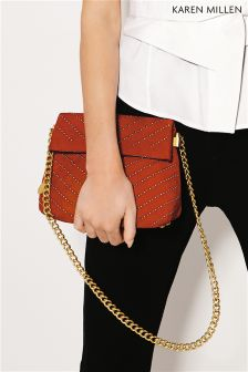 Karen Millen Red Chevron Stud Bag