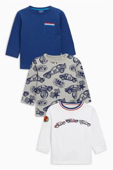 Embroidered Racing Car Long Sleeve Tops Three Pack (3mths-6yrs)