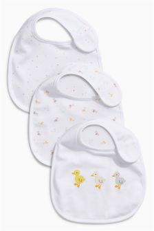 White Soft Duck Bibs Three Pack