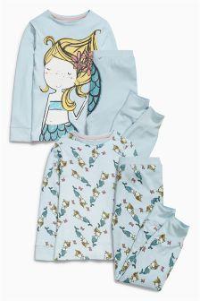 Blue Mermaid Pyjamas Two Pack (12mths-8yrs)