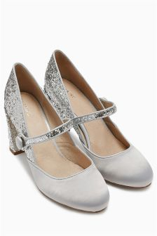 Satin and Glitter Mary Janes