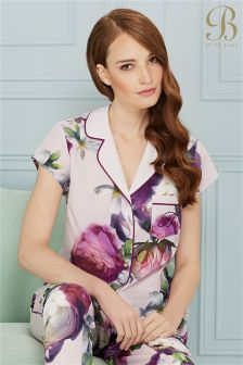 B By Ted Baker Purple Floral Short Sleeve Revere Pyjama Top