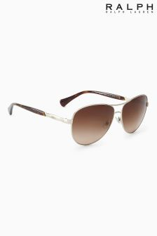 Ralph Lauren Brown Rounded Aviator Sunglasses