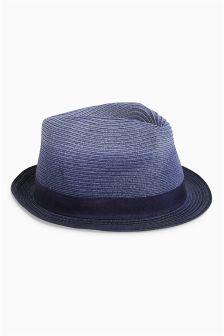 Blue Dip Dye Trilby Hat
