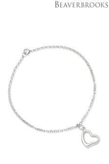 Beaverbrooks 9ct White Gold Heart Bracelet