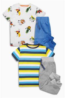 Blue Humour Short Pyjamas Two Pack (3-16yrs)