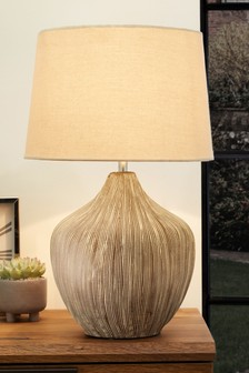 Cream Ceramic Table Lamp With Scratch Detail