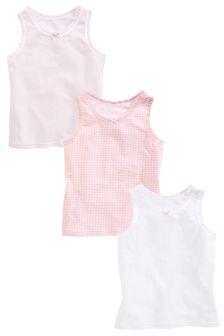 Pink/White Vests Three Pack (1.5-16mths)