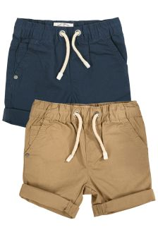 Navy/Stone Pull-On Shorts Two Pack (3mths-6yrs)