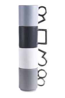 Set Of 4 Metallic Handle Stacking Mugs