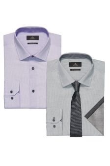 Lilac & Grey Checked Shirts And Tie Two Pack