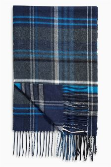 Navy Classic Check Scarf