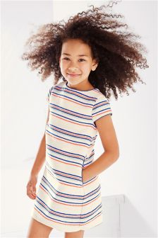 Ecru Stripe Shift Dress (3-16yrs)