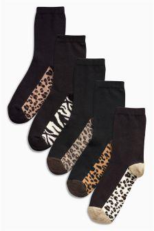 Black Animal Footbed Ankle Socks Five Pack