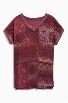 Embellished Print T-Shirt